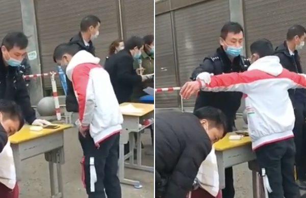 有网传视频显示,该省毕节市百纳民族中学学生入校登记时,有疑似警察对学生进行搜身。(视频截图合成)