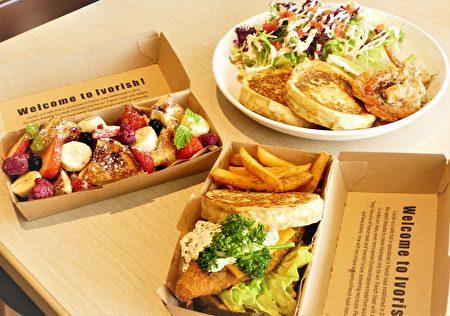 日本人氣法式吐司可搭配生菜沙拉、炸魚、炸雞和蒜香鮮蝦點。