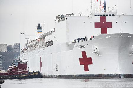 """美国海军医疗舰""""舒适号""""抵达曼哈顿90号码头。"""