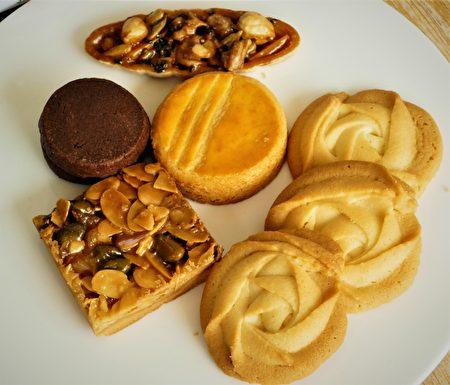 迷人的小酥餅,有維也納酥餅、佛羅倫汀脆餅、鹹蛋黃酥餅,沙布列厚切夾心。