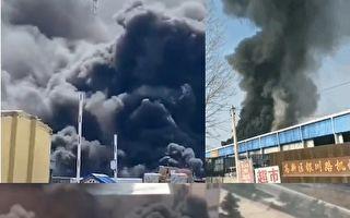 【現場視頻】山東威海一倉庫集散點突發大火