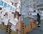哈爾濱某地兩個藥店之間搭起了一道「牆」,牆上掛滿了各類食品、糧油等店舖的聯繫電話。(視頻截圖合成)