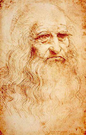 Self-portrait. Red chalk. DaVinci。(Royal Library, Turin/ Wikimedia Commons)