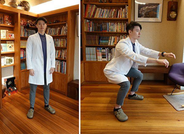 深蹲:雙腳先微微打開,屁股像坐椅子一樣往後坐,膝蓋呈90度且大腿與地面平行。(楊宗翰提供)