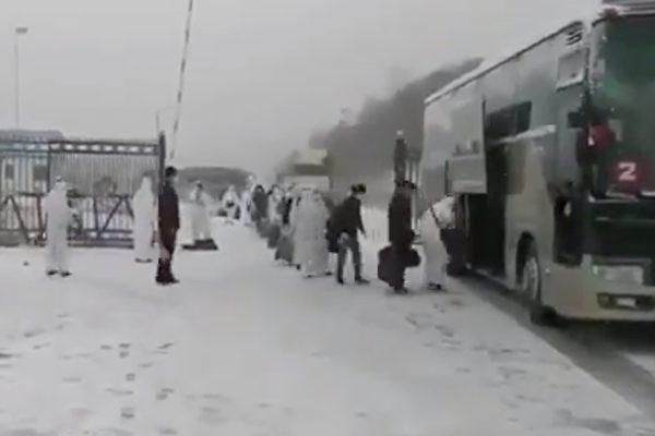 近日,在俄罗斯的数十名中国公民回国。(截图)