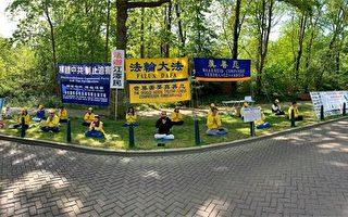 纪念4.25 荷兰法轮功学员中领馆和平抗议