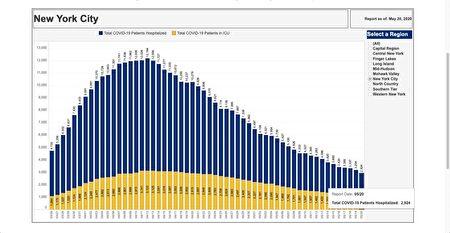 图为纽约市每日的住院人数统计图表。