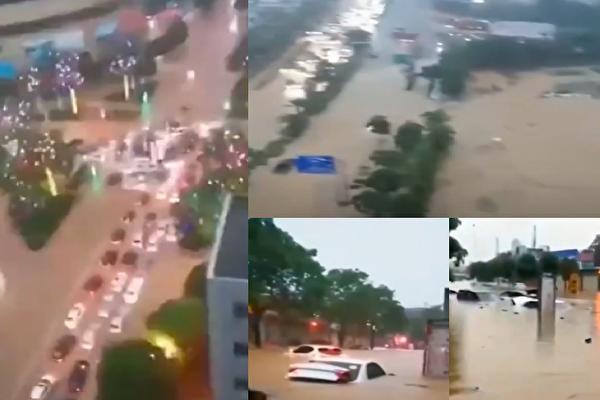 连日里广西多地降雨,梧州市、崇左市均现洪涝。(视频截图合成)