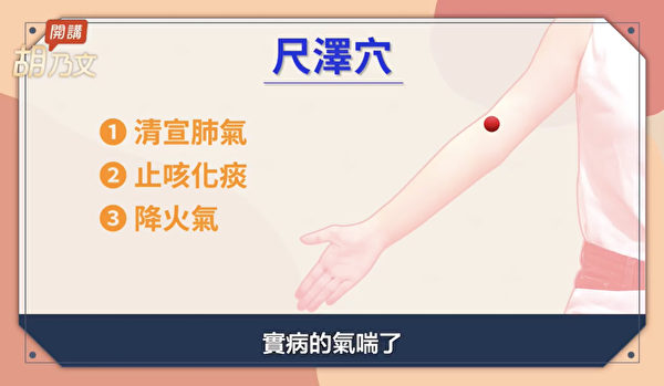 凌晨三至五点,是肺气最旺之际,这时按压尺泽穴可以改善实病的气喘。(胡乃文开讲提供)