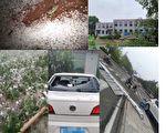 端午节晚间,河北保定、天津也下冰雹。(网路图片、视频截图合成)
