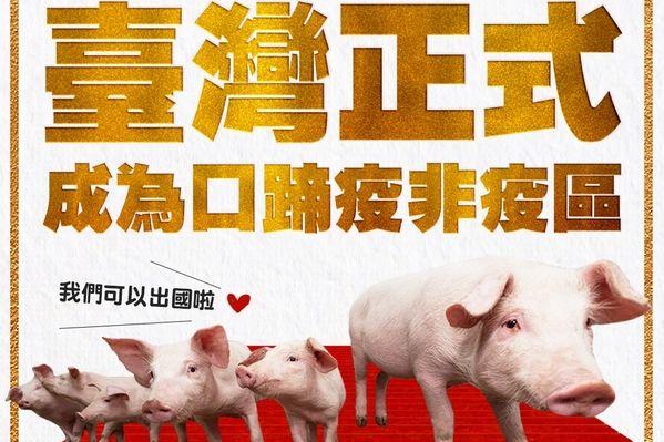 台湾改列口蹄疫非疫区 下半年生猪恢复出口