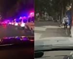 網傳視頻顯示,玉泉東市場附近的五棵松出現大批警車,北京白各莊新村小區亦封閉管理。(視頻截圖合成)