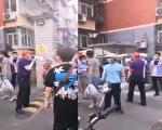 17日网传视频显示,北京某小区门口带红袖标的人告诉居民:小区只能进不能出。(视频截图合成)