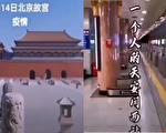 網傳視頻顯示,北京天安門西地鐵站和故宮空空如也,基本沒人。(視頻截圖合成)