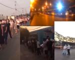 有網傳視頻顯示,北京新發地市場經過核酸檢測的大批民眾,一車一車地被拉走隔離。(視頻截圖合成)