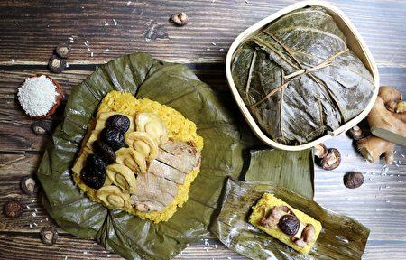 吃粽兼食补的姜黄麻油鸡酒粽,重达1.1公斤。