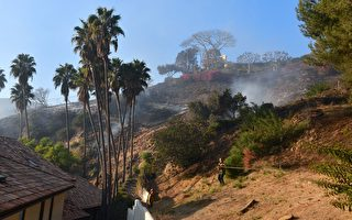 洛城富人区贝莱尔爆发山火 延烧50英亩