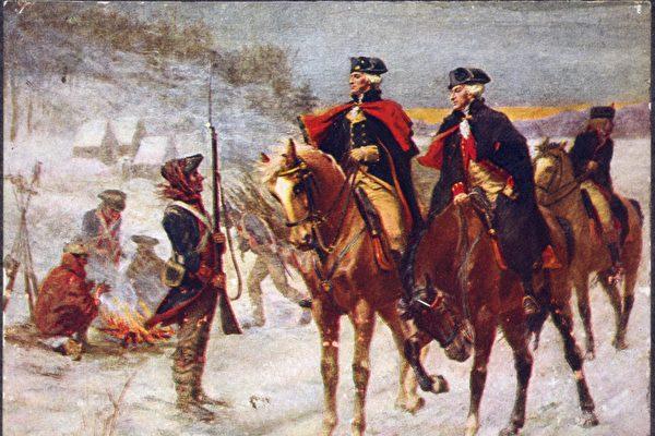 華盛頓將軍與拉法葉特侯爵在福吉谷。(公有領域)