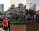 有網傳視頻顯示,北京多地出現民眾大排長龍進行檢測,且都是曾經去過豐台區新發地市場的人。(視頻截圖合成)