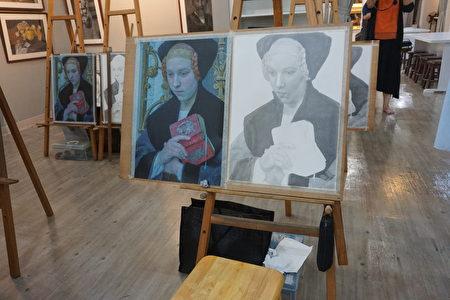 美术班学生尚待完成的作品。