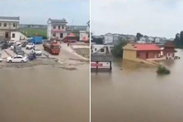 江西省遭遇本世紀以來最大洪水。南昌市新建區大塘坪鄉、南磯鄉、聯圩鎮三地被要求轉移民眾。圖為九江市江洲鎮。(視頻截圖合成)