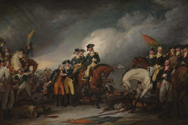 图为美国画家约翰·特伦布尔(John Trumbull)的作品《1776年12月26日在特伦顿俘获黑森军》
