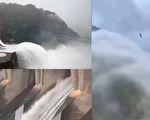 7月8日早上,新安江水庫又接到調度令,開啟9孔洩洪閘洩洪,半小時流量與西湖儲水量相當,61年來首次。(視頻截圖合成)