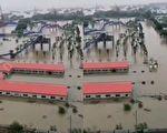 有视频显示武汉青山大桥闸口已开,民众提醒:快跑。(视频截图合成)