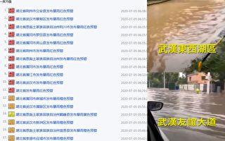 湖北省武汉市、荆州市等逾11个县市拉响暴雨红色预警信号,该省防汛应急响应提升至3级。图中武汉被淹是7月4日情况。(网络/视频截图合成)