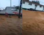 7月28日唐山市暴雨,网传视频显示,该市丰润区出现洪水。(视频截图合成)