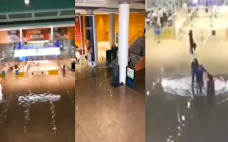 7月2日,刚刚启用的杭州火车站南站西广场地下通道被雨水倒灌。(视频截图合成)