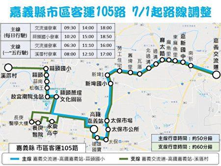 嘉義縣市區客運105路線調整。