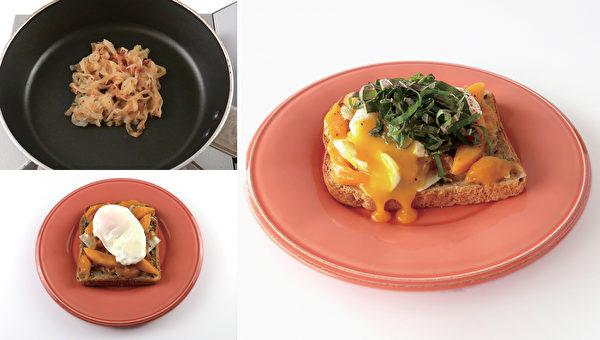 减肥早餐之:芒果半熟蛋吐司。(高宝提供)