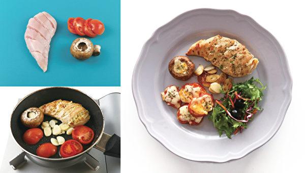 减肥晚餐之:蒜味起司鸡肉盘。(高宝提供)