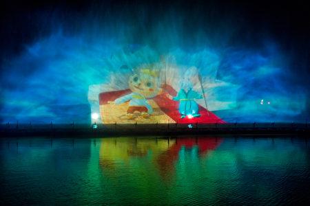 圖為故宮南院在暑假期間將推出的夜間「3D水幕魔鏡」表演。