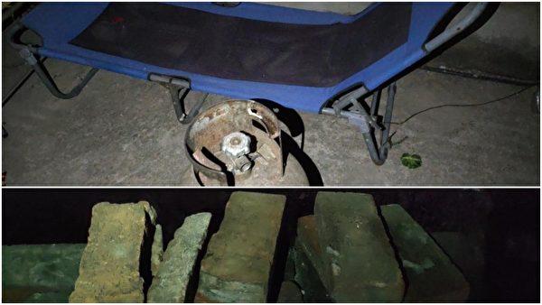村民自卫准备的煤气罐和砖块。(受访人提供)