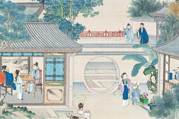 清 孙温彩绘《红楼梦》插图。(公有领域)