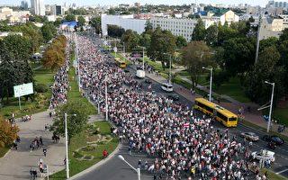 組圖:白俄羅斯抗爭第5週 10萬人籲總統下台