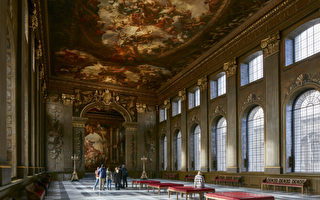 旧皇家海军学院, Old Royal Naval College, 彩绘画厅, Painted Hall, 詹姆斯·桑希尔爵士, Sir James Thornhill, 王室