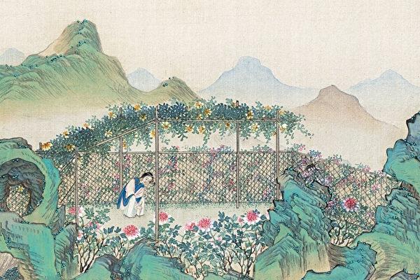 清 孫溫彩繪《紅樓夢》第三十回插圖(局部)。(公有領域)