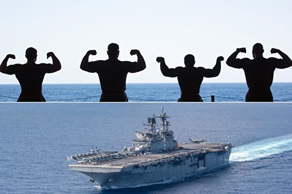 美軍士兵南海「秀肌肉」 戰備之餘不忘幽默