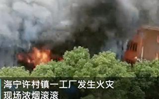 【现场视频】浙江海宁一工业园起火 浓烟滚滚