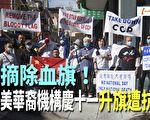 【一线采访视频版】美华商总会十一升血旗引抗议