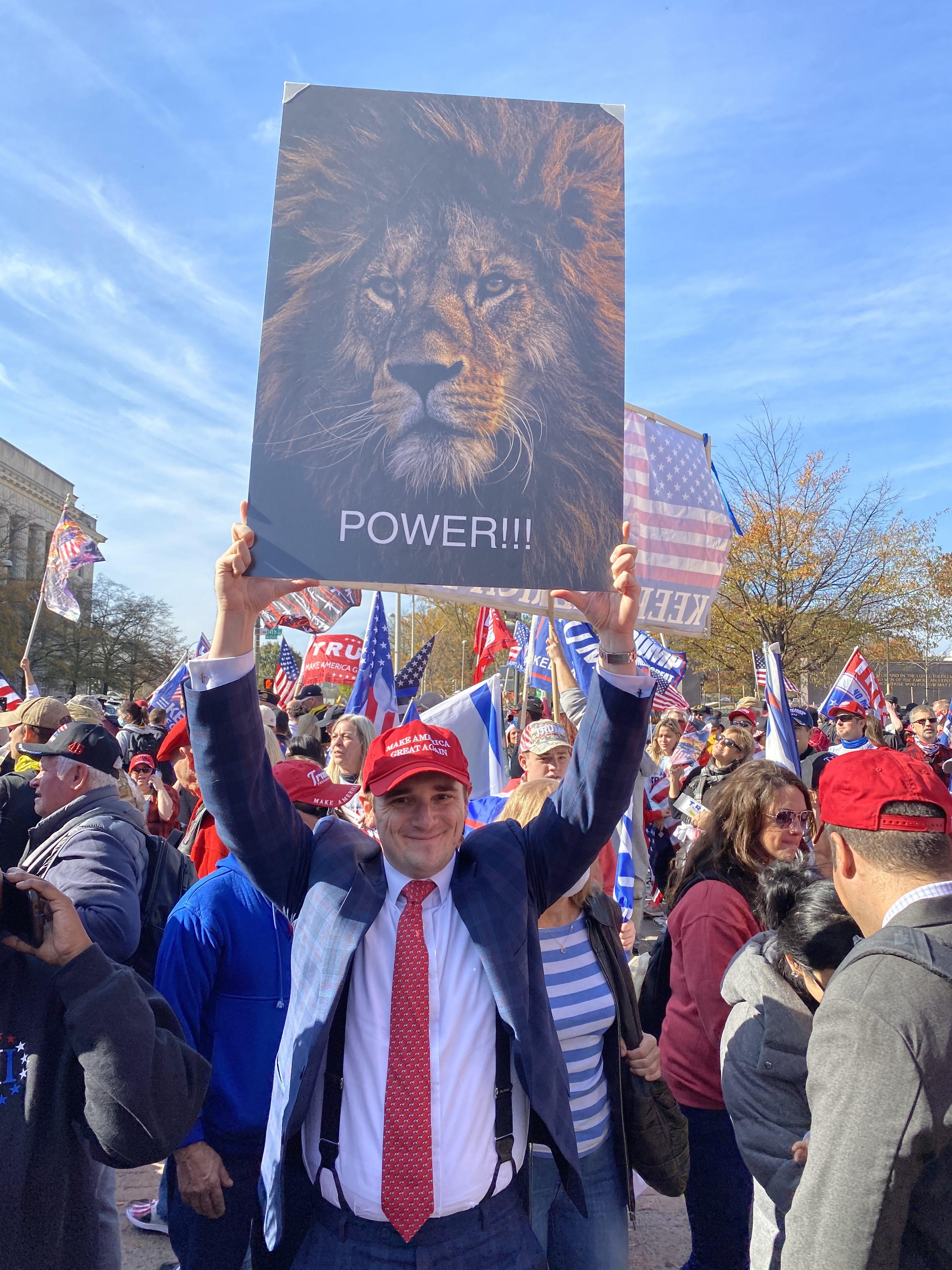 """11月14日,美国各州民众在美国首都华盛顿DC举行挺川普大游行,民众举着""""狮子王""""的海报。(施萍/大纪元)"""