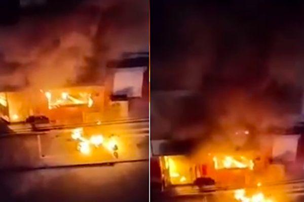 河南林州市一小旅馆发生火灾 至少2死4伤