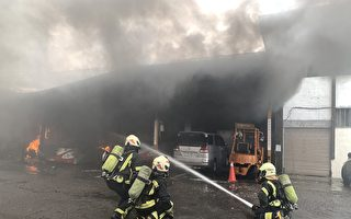 五輛電動巴士陷火海 桃園客運修車廠大火