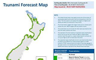 【更新】新西蘭3次強震至8.1級 發海嘯警報