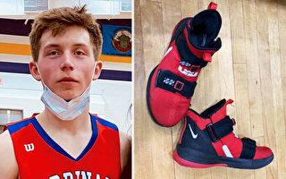 美國高中籃球運動員把自己的鞋子送給對手
