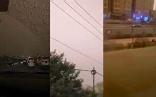 北京再遇沙尘暴 网民:黄沙加雨水 像下泥