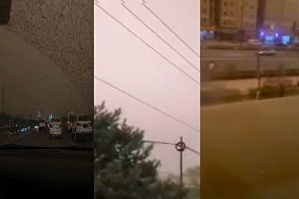北京再遇沙尘暴 网民;黄沙加雨水 像下泥